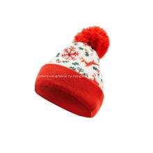 Вязаная шапка-бини из жаккарда с помпоном для мальчиков и девочек