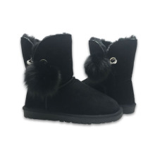 Comfortable ankle sheepskin leather pom pom boots women