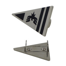 Silver Triangle Metal Tag with Printing Black Logo