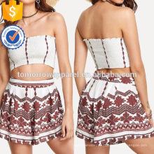 Plissee Tube Top mit Print Shorts Herstellung Großhandel Mode Frauen Bekleidung (TA4091SS)