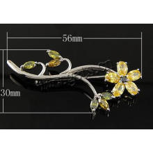 Gets.com plata esterlina 925 Zirconia Cubic Broche de flores