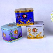 Caixa de lata de chá quadrada de exportação de cor personalizada para presente