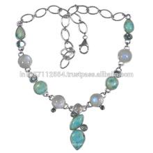 Schöner Regenbogen Mondstein Larimar & blauer Topas Edelstein mit 925 Sterling Silber Halskette zum besten Preis