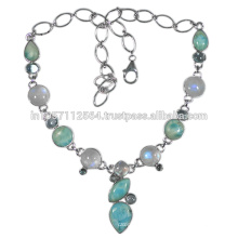 Beautiful Rainbow Moonstone Larimar & Blue Topaz Gemstone with 925 Sterling Silver Necklace at Best Price