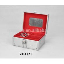 Nueva caja de joyería de aluminio con piel del panel del ABS y una bandeja extraíble dentro