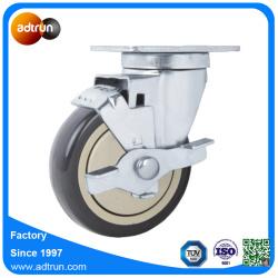 Plate Swivel PU Castor Wheel with Brake for Material Handling Truck