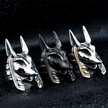 Stianlees Steel Classic Head Of Anubis Herenring