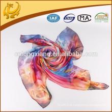 China Wholesale Tela impressa digital Bonito cachecol Chiffon cachecol de seda para senhora