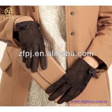 ZF4005 moda Lady pig grão luvas de couro