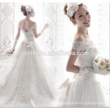 2016 OEM Novia Sweetheart vestidos largos blancos de la cola de la cola