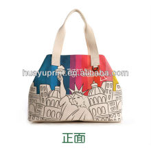 Segeltuch-Taschentaschen tragen Beutelart und weisehandtasche / Kursteilnehmerbeutel-Druckbeutel / die Statue der Freiheitssegeltuch bagAT-1089