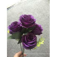 Lila Sieben Rosenstrauß Dekorative Künstliche Blumen