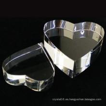 Premio cristal K9 alta calidad cristal corazón en blanco