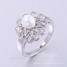 anillo del zircon del ópalo de fuego del latón del dedo del nuevo diseño de la moda de la joyería de la perla con el oro 14k plateado