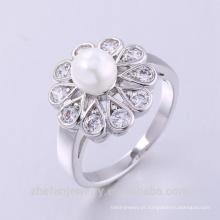 anel novo do zircão do opal do fogo do bronze do dedo do projeto da forma da jóia da pérola com o ouro 14k chapeado