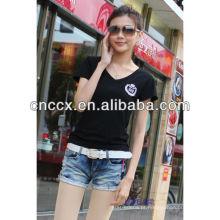 13ST1011 Alta qualidade mulheres algodão camiseta personalizada