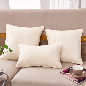 Chenille cushion with solid color