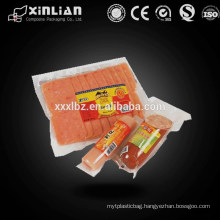 Top quality plastic transparent food vacuum bags for frozen food