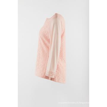 Manches longues avec dentelle devant de couleur rose