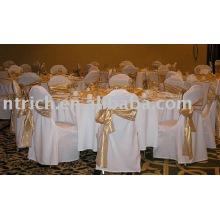 100% poliéster cadeira tampa, tampa da cadeira banquete/hotel, faixa de cetim cadeira