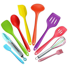 2017 trending products 10 pieces colorful silicone utensil set for kitchen dining