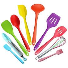 2017 tendências de produtos 10 peças de silicone colorido utensílio conjunto para cozinha de jantar