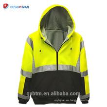 Venta caliente venta al por mayor ANSI 107 clase 3 2-tono de seguridad sudadera con capucha completa cremallera Hi Vis sudadera con capucha