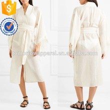 Beige Fringed V-Neck Cotton Long Sleeve Midi Summer Dress With Belt Manufacture Wholesale Fashion Women Apparel (TA0247D)