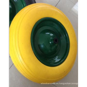 Rueda de alta calidad de la PU con eje y tapas plásticas