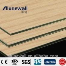 Alunewall 2 mètres largeur bois Texture A2 / B1 ignifuge en aluminium composite panneau pour la cuisine, porte et décoration de table