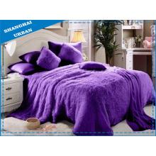 Mantas de piel falsa violeta de 6 piezas con conjunto de ropa de cama