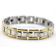 18K gold plating therapy germanium bracelet stainless steel
