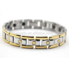 Bracelete do germanium da terapia do chapeamento de ouro 18K aço inoxidável