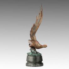 Statue de poulet animal La sculpture en bronze de faisceau doré longue queue Tpal-265