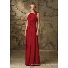 Red Chiffon Halfter Eine Linie bodenlangen Brautjungfer Abendkleid