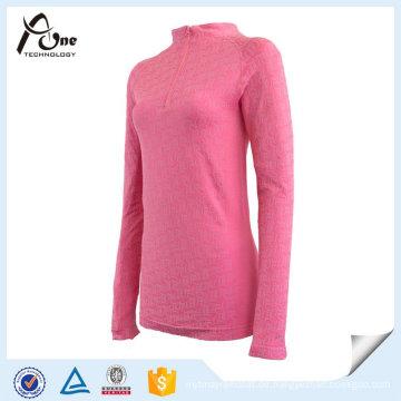 Mode rosa atmungsaktive Mädchen Thermo-Unterwäsche mit Reißverschluss