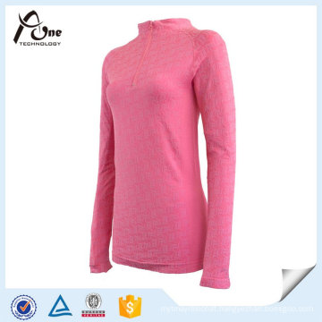 Fashion Pink Breathable Girls Thermal Underwear with Zipper