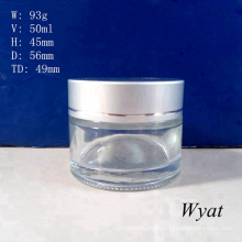 50ml 1.8oz Glass Cosmetic Cream Jar Glass Cream Jar for Personal Care