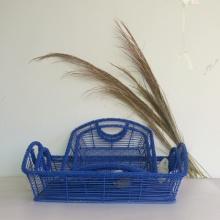 blue rectangular iron wire storage basket