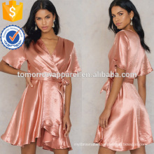 Short Sleeve V-Neck Pink Wrap Over Summer Mini Dress With Belt Manufacture Wholesale Fashion Women Apparel (TA0235D)