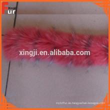 Top Fashion und schöne gefärbte Fuchspelzstreifen Pelzbesatz