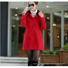 Korean Version Hooded Warm Ladies Cashmere Overcoats
