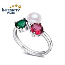 Damen Perlenringe AAA 8-9 mm Süßwasser Perlen Ring Knopf Perle Sterling Silber Perle Ring