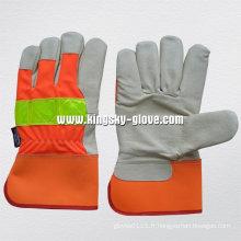 Salut-Viz avertissement couleur porc grains de cuir pleine paume gants de travail en cuir pour camion