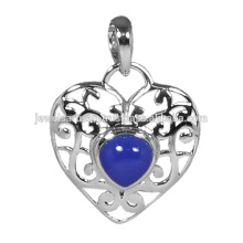 Heart Shape Blue Onyx Gemstone 925 Solid Silver Pendant