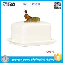 Pheasent na tampa decorativa Butterware cerâmica Butter Dish