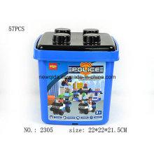 Conjunto de ladrillos educativos de juguete de policía bricolaje con cubo azul
