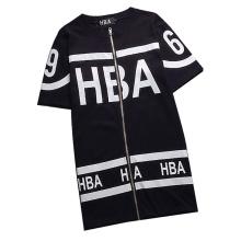 Último Moda hiphop algodão impressão Zip T-shirt