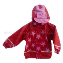 Pluie rouge étoiles EMB Hooded veste/imperméable