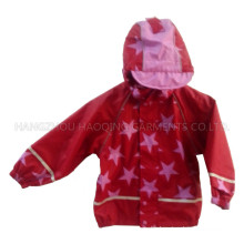 Red Star Hooded PU Rain Jacket/Raincoat